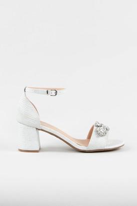 Wallis White Embellished High Block Heel