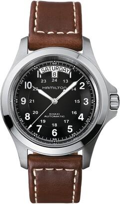 Hamilton Khaki King Automatic Leather Strap Watch, 40mm