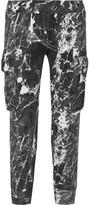 Norma Kamali Cropped printed stretch-jersey track pants