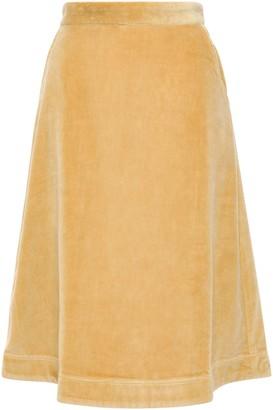 By Ti Mo Flared Cotton-velvet Skirt