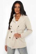 Thumbnail for your product : boohoo Petite Button Detail Cropped Trench Coat