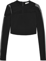 Thierry Mugler Mesh-paneled stretch-crepe top