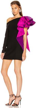Rasario Ruffled One Shoulder Mini Dress in Black & magenta | FWRD