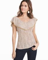 White House Black Market Ruffled V-neck Lurex Pullover Sweater