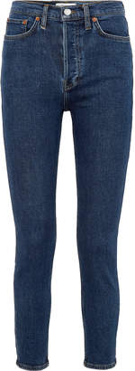 RE/DONE Cropped Frayed Mid-rise Slim-leg Jeans