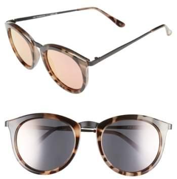 Le Specs Women's 'No Smirking' 50Mm Round Sunglasses - Tortoise/ Silver Mirror