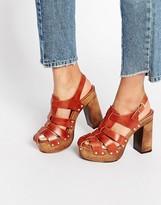 Asos OKLAHOMA Leather Heeled Clogs