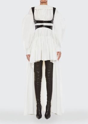 Alexander McQueen Long Poet-Sleeve High-Low Silk Faille Dress