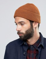 Asos Fisherman Beanie In Tobacco
