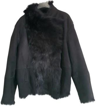 Gerard Darel Black Mongolian Lamb Coat for Women