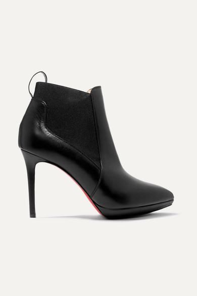 Christian Louboutin Crochinetta 100 Leather Ankle Boots - Black
