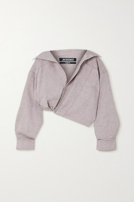 Jacquemus Mejean Cropped Cotton And Linen-blend Shirt - Lilac