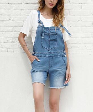 Z Avenue Women's Short Overalls Jean - Light Blue Tie-Strap Overall Shorts - Women & Plus