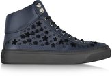 Jimmy Choo Argyle Official Navy Leather High Top Sneakers w/Black Flocked Stars