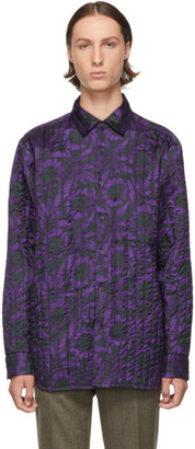 Dries Van Noten Purple and Black Floral Military Shirt