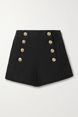 Derek Lam 10 Crosby Robertson Button-embellished Cotton-blend Shorts - Black
