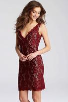 Jovani JVN55157 Lace V-Neck Sheath Dress