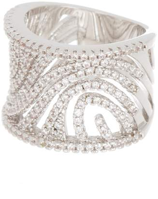 Covet CZ Pave Openwork Wide Band Ring
