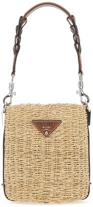Prada Logo Woven Bucket Bag