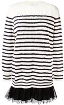RED Valentino lace hem striped sweater
