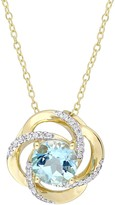 Gold Tone Sterling Silver Blue & White Topaz Swirl Pendant Necklace