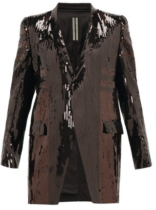 Rick Owens Single-breasted Sequinned-cotton Longline Blazer - Black Brown