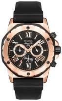 Bulova Rose Gold Ip With Black Rubber Strap Watch 98b104