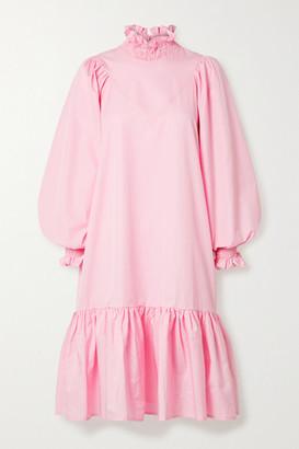 AVAVAV Ruffled Smocked Cotton-poplin Dress - Pink