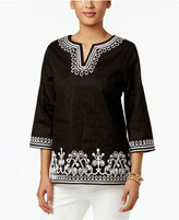 Alfred Dunner Petite Cotton Embroidered Tunic