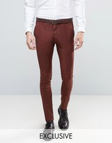 Heart & Dagger Super Skinny Suit Trousers In Brown