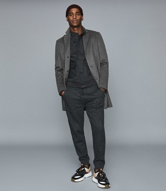 Reiss Chester - Cotton Blend Pinstriped Bomber Jacket in Charcoal