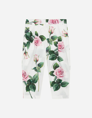 Dolce & Gabbana Poplin Pants With Tropical Rose Print