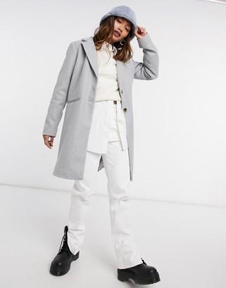 Vila tailored pea coat in grey