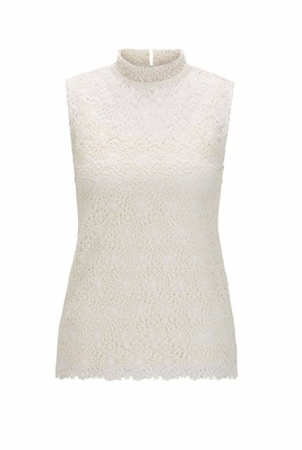 HUGO BOSS Womens Tells Floral-lace Sleeveless top with Stand Collar White