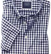 Charles Tyrwhitt Slim fit button-down non-iron poplin short sleeve navy gingham shirt