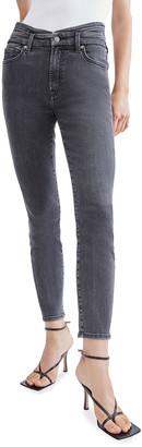 7 For All Mankind High-Waist Skinny Jeans with Cummerbund Detail