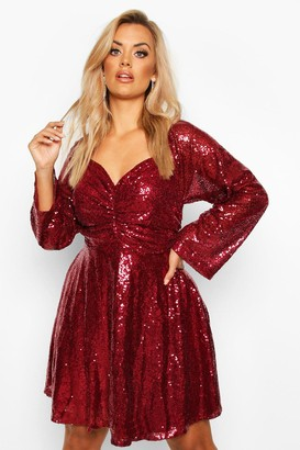 boohoo Plus Sequin Puff Sleeve Ruched Detail Skater Dress