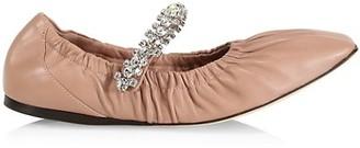 Jimmy Choo Gai Square-Toe Crystal-Strap Leather Ballerina Flats