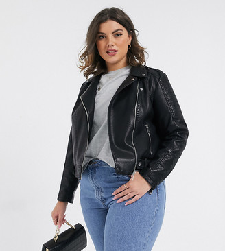 Vero Moda Curve leather look jacket with stitch sleeve detail in black