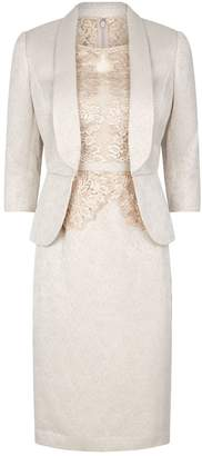John Charles Metallic Floral Lace Dress with Jacket
