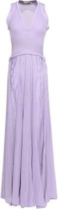 Roberto Cavalli Lace-up Ribbed-knit Maxi Dress