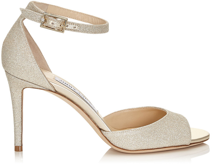 Jimmy Choo ANNIE 85 Platinum Ice Dusty Glitter Peep Toe Sandals