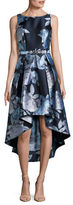 Eliza J Sleeveless Floral Jacquard Hi-Lo Dress