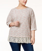Style&Co. Style & Co Plus Size Lace-Hem Layered-Look Top, Only at Macy's