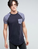 Le Breve Longline T-shirt With Pocket And Contrast Sleeve