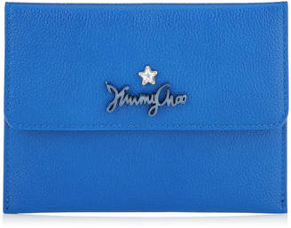 Jimmy Choo ALBIN Electric Blue Calf Leather Wallet with Logo