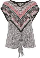Oasis Aztec Woven Front Knot Top