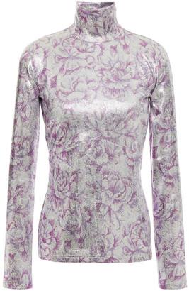 Paco Rabanne Floral-print Metallic Stretch-jersey Turtleneck Top