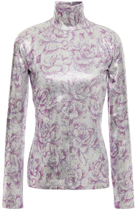 Paco Rabanne Metallic Floral-print Stretch-jersey Turtleneck Top