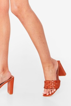 Nasty Gal Womens The Woven One Faux Leather Heeled Mules - Tan